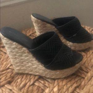 Size 8 black wedge slip on sandal